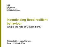 Incentivising flood resilient behaviour What`s the role of Government?