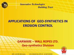 EROSION CONTROL APPLICATIONS USING GEO
