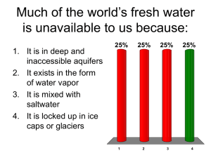 Much of the world`s fresh water is unavailable to us because:
