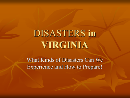 Disasters in Virginia - Virginia Commonwealth University