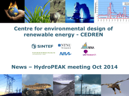 CEDREN News – HydroPEAK meeting Oct 2014