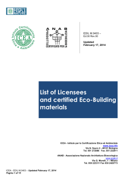 List of Licensees and certified Eco-Building materials