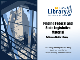Finding Federal and State Legislative Material