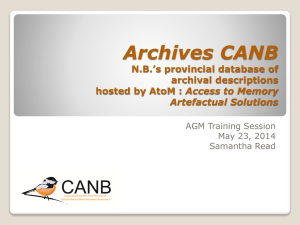 Archival descriptions - Council of Archives New Brunswick