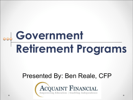 Government Programs: Collecting what you are due as a citizen and