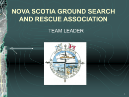 Halifax Regional Search and Rescue Team Leader Module