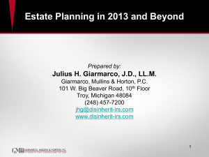 Estate Planning in 2013 and Beyond