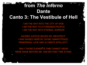 from The Inferno Dante Canto 3: The Vestibule of Hell