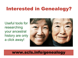 GenealogyPresentation - South Central Library System