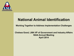Update on Livestock Markets and Animal Identification