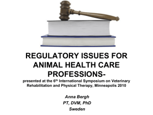 regulatory issues for animal health care professions