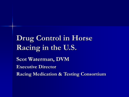 Dr. Scot Waterman`s presentation to the Ontario Racing Commission