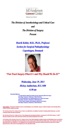 Dr Kehlet`s flyer - MD Anderson Cancer Center
