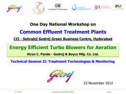 Energy Efficient Turbo Blowers for Aeration
