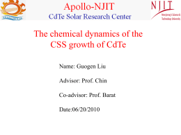 CdTeCSS - NJIT Physics Department