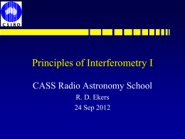 Principles of Interferometry I - Australia Telescope National Facility