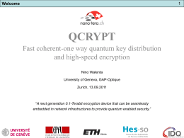 Slide - QCRYPT 2011: First Annual Conference on Quantum