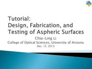 Presentation - The University of Arizona College of Optical Sciences
