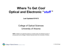 pptx - The University of Arizona College of Optical Sciences