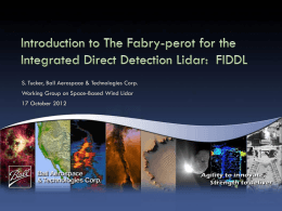 FIDDL The Fabry-perot etalon for the Integrated Direct Detection Lidar