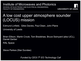 A Low Cost Upper atmosphere Sounder (LOCUS) mission