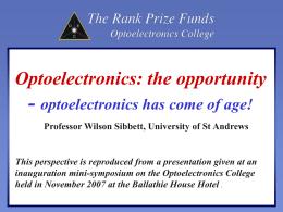 An Optoelectronics Perspective, Wilson Sibbett