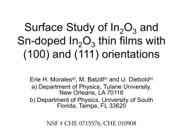 Surface Study of In2O3 and Sn-doped In2O3 thin