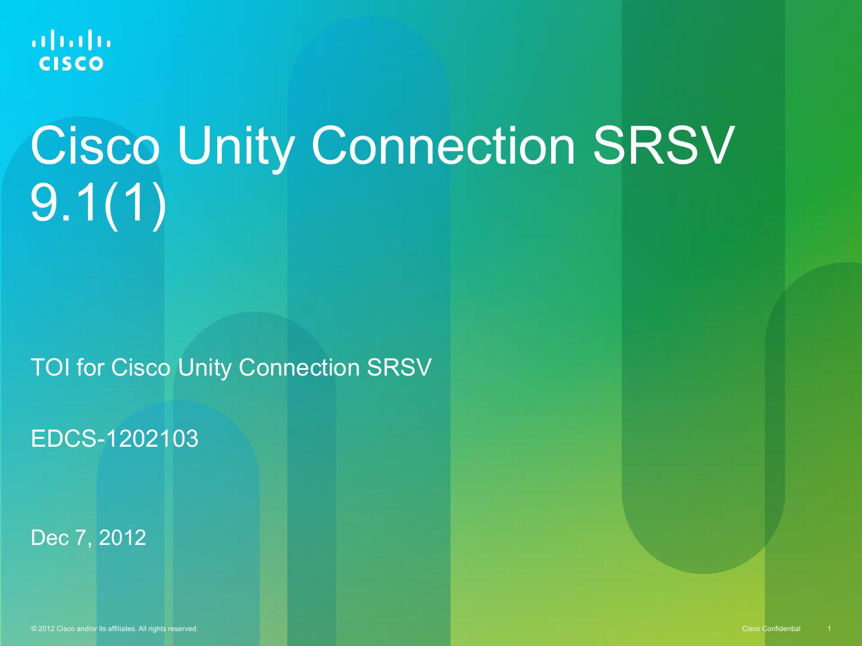 SRSV - Cisco Unity Tools