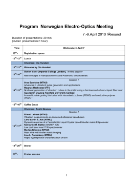 Program Norwegian Electro-Optics Meeting