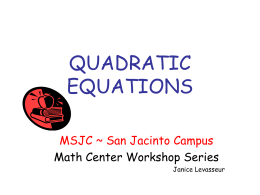 Quadratic Equations