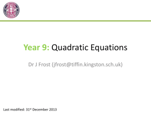 Year 9 Solving Quadratic Equations