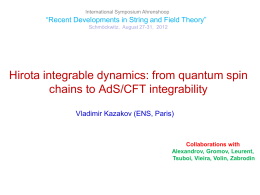 from quantum spin chains to AdS/CFT integrability - Hu