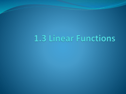 1.3 Linear Functions