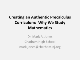Creating an Authentic Precalculus Curriculum