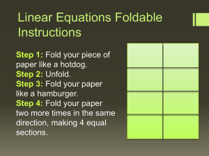 Linear Equations Foldable Instructions
