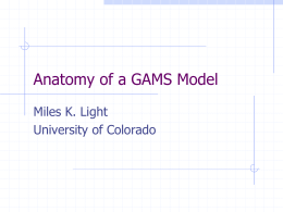 Anatomy of a GAMS Model