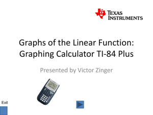 Graphs of the Linear Function: Graphing Calculator TI