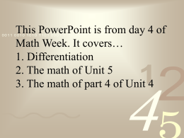 Math I Unit 5 – Differentiation