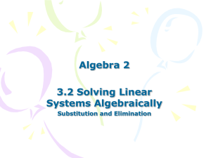 3.2 Solving Systems of Equations Algebraically - Link 308