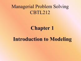 Chapter 1 - Introduction to Modeling