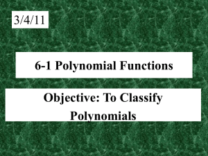 6-1 Polynomial Functions