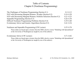 Table of Contents Chapter 8 (Nonlinear Programming)