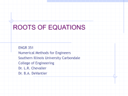 Roots of Equations - Civil and Environmental Engineering | SIU