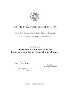 Universit`a degli Studi di Pisa