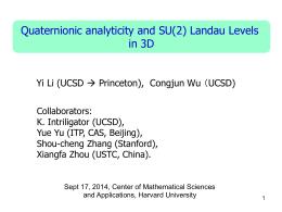 Quaternionic analytic Landau levels inthree dimensions