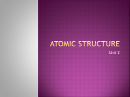 Unit 2 - Atomic Structure