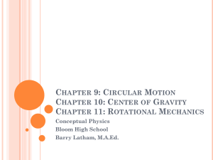 Center of Gravity Chapter 11: Rotational Mechanics