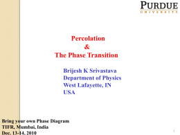 Percolation and the Phase Transition