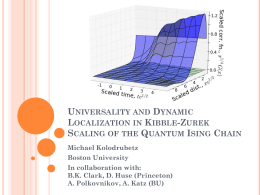 Universality and Dynamic Localization in Kibble