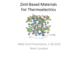 Zintl thermoelectrics